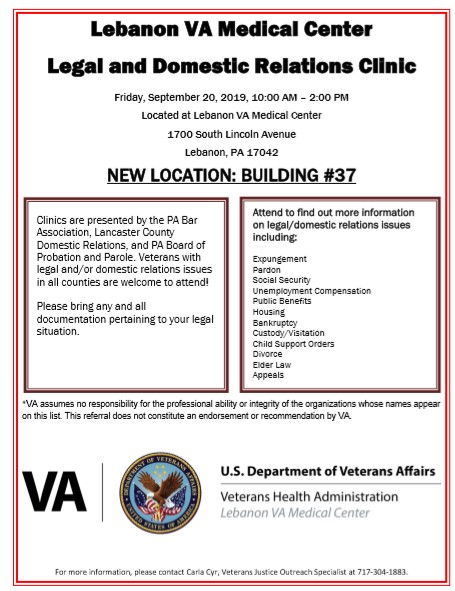 Legal and Domestic Relations Clinic flyer
