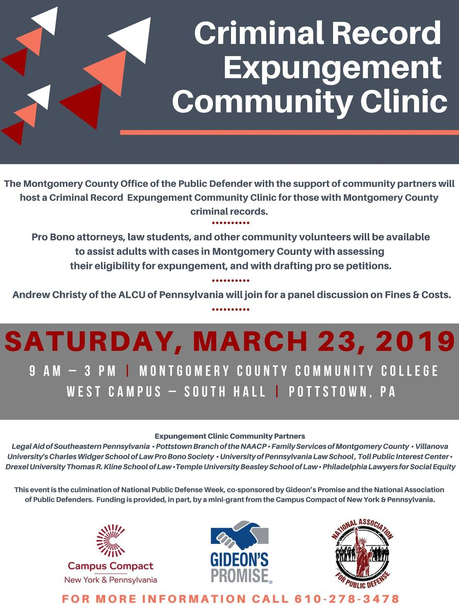 Criminal Record Expungement Community Clinic flyer