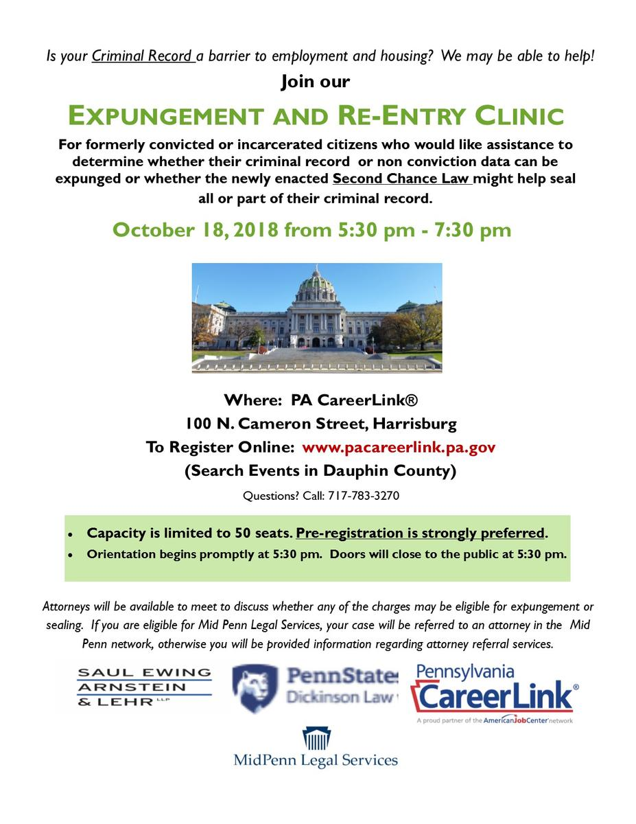 Expungement and Re-Entry Clinic Flyer